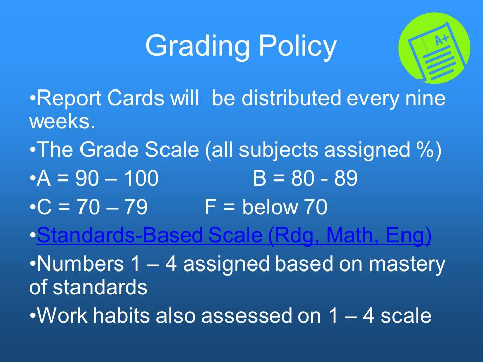 5th Grade Policies Homework Nightly Unexcused Absences E-mail teachers (if possible)