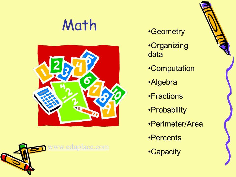 Math Geometry Organizing data Computation Algebra Fractions Probability Perimeter/Area Percents Capacity www.eduplace.com