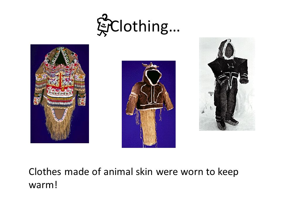 Clothing… Clothes made of animal skin were worn to keep warm!