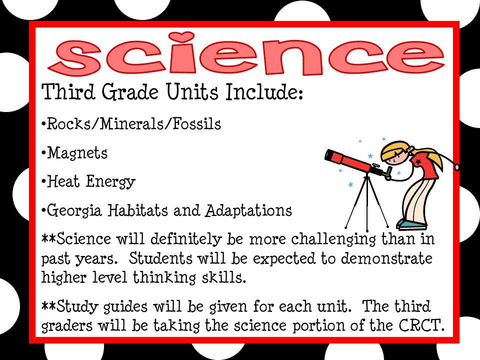 Third Grade Units Include: Rocks/Minerals/Fossils Magnets Heat Energy Georgia Habitats and Adaptations **Science will definitely be more challenging than in past years.