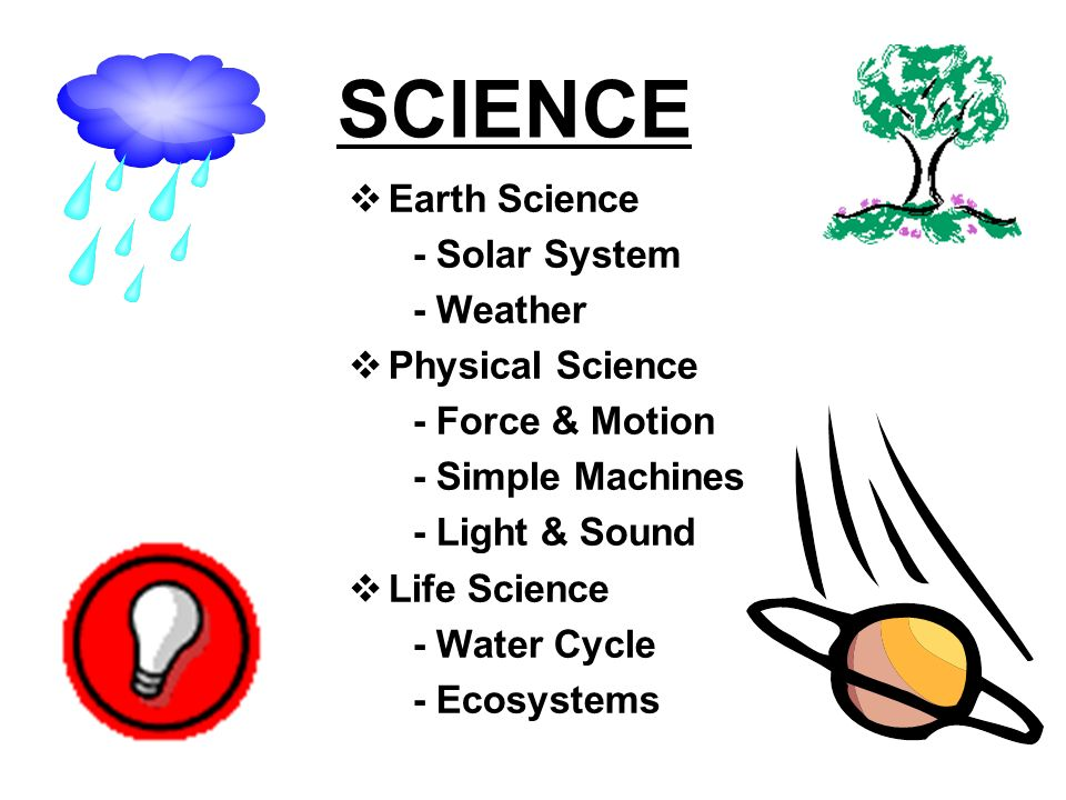 SCIENCE Earth Science - Solar System - Weather Physical Science - Force & Motion - Simple Machines - Light & Sound Life Science - Water Cycle - Ecosystems
