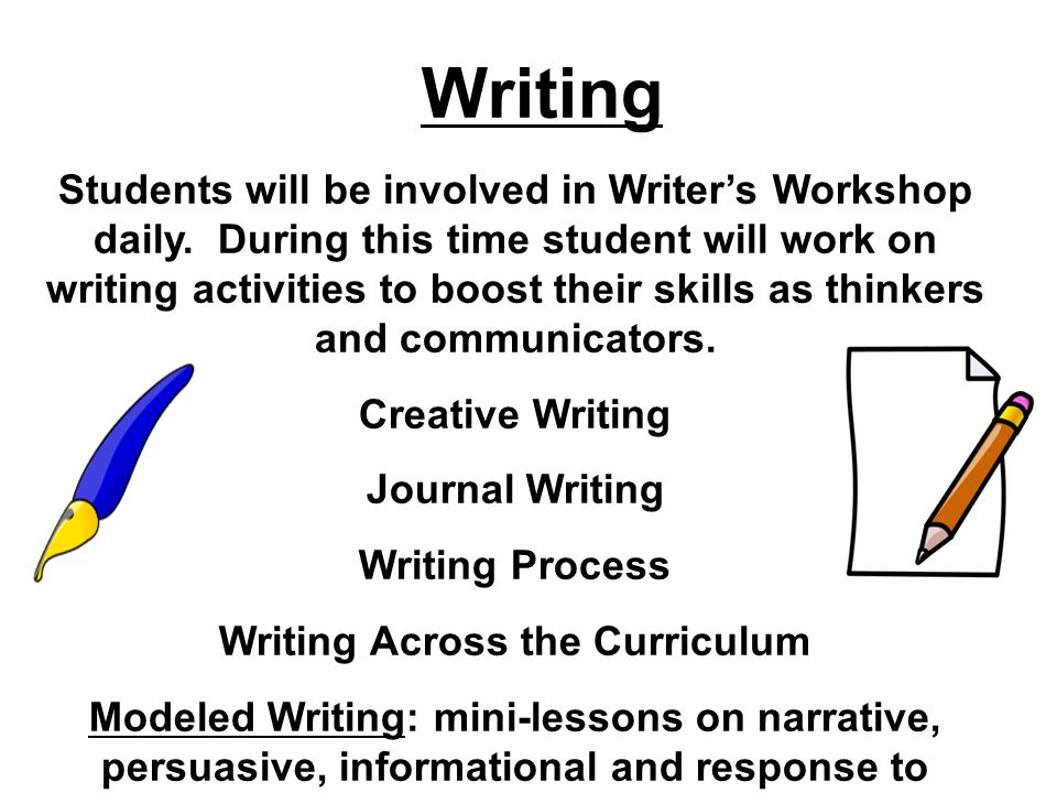 Students will be involved in Writers Workshop daily.