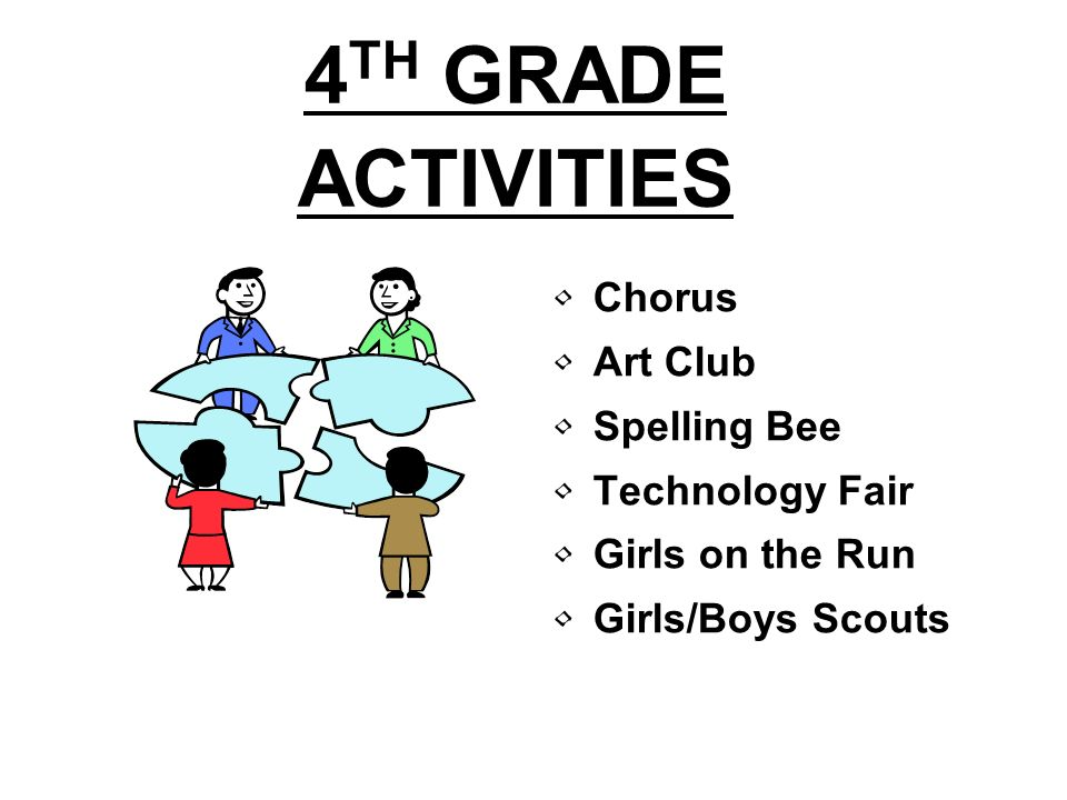 4 TH GRADE ACTIVITIES Chorus Art Club Spelling Bee Technology Fair Girls on the Run Girls/Boys Scouts