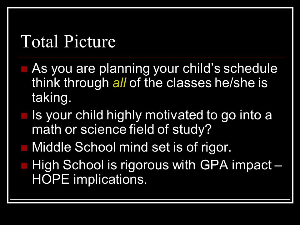 Total Picture As you are planning your childs schedule think through all of the classes he/she is taking.