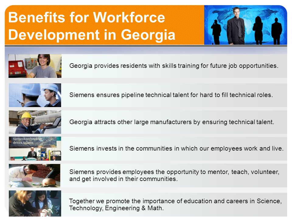 Benefits for Workforce Development in Georgia Georgia provides residents with skills training for future job opportunities.