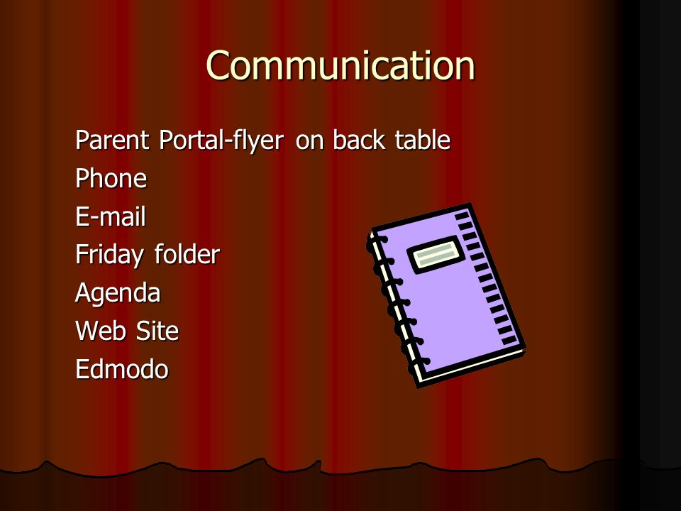 Communication Parent Portal-flyer on back table PhoneE-mail Friday folder Agenda Web Site Edmodo