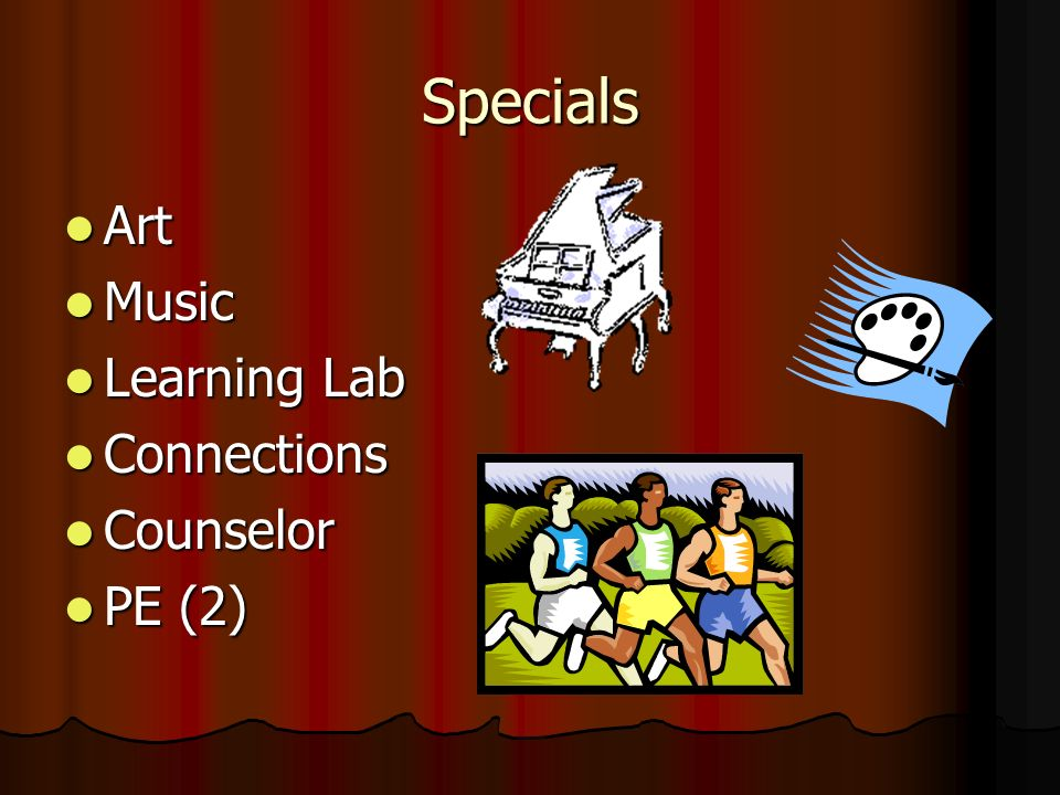 Specials Art Art Music Music Learning Lab Learning Lab Connections Connections Counselor Counselor PE (2) PE (2)