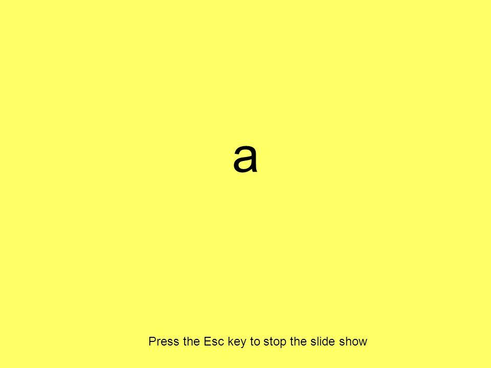 a Press the Esc key to stop the slide show