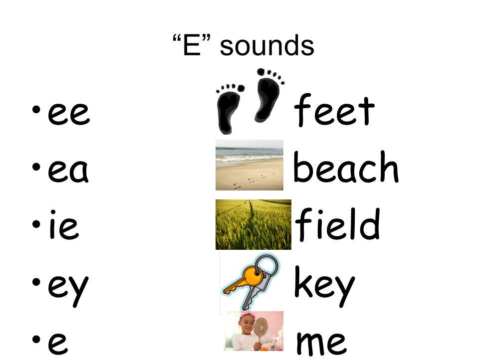 E sounds ee feet ea beach ie field ey key e me