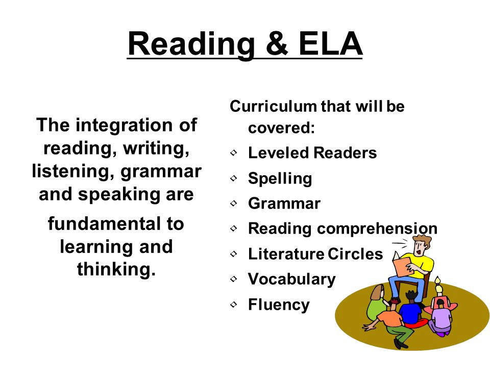 Reading & ELA Curriculum that will be covered: Leveled Readers Spelling Grammar Reading comprehension Literature Circles Vocabulary Fluency The integr