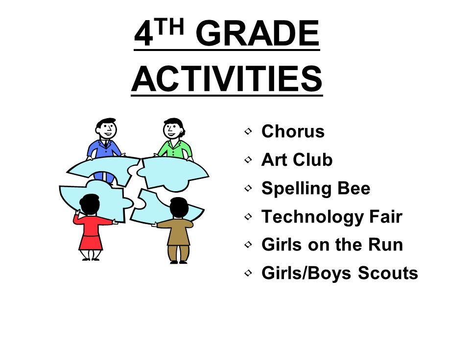 4 TH GRADE ACTIVITIES Chorus Art Club Spelling Bee Technology Fair Girls on the Run Girls/Boys Scouts