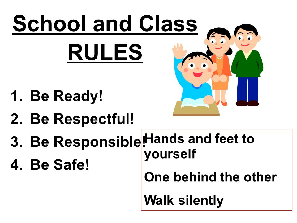 School and Class RULES 1. Be Ready! 2. Be Respectful! 3. Be Responsible! 4. Be Safe! Hands and feet to yourself One behind the other Walk silently