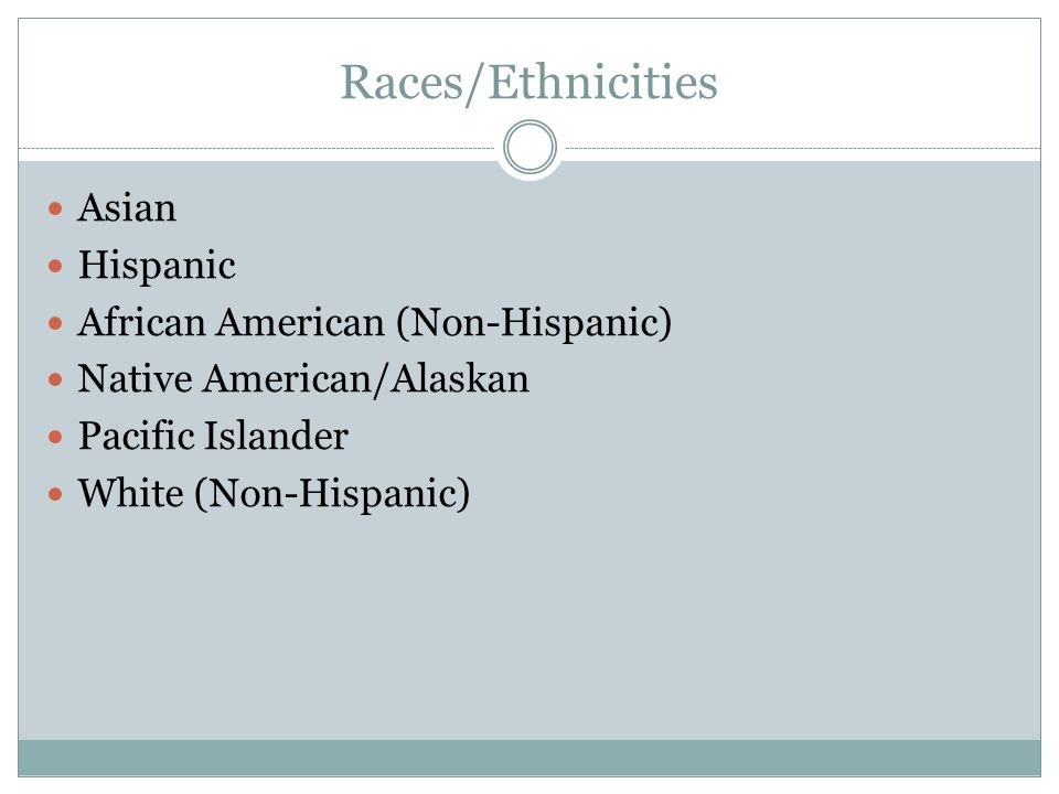 Races/Ethnicities Asian Hispanic African American (Non-Hispanic) Native American/Alaskan Pacific Islander White (Non-Hispanic)