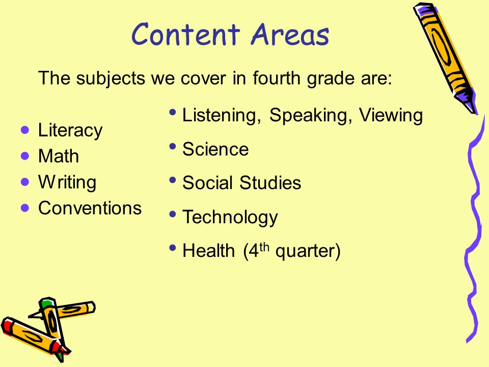 Content Areas The subjects we cover in fourth grade are: Literacy Math Writing Conventions Listening, Speaking, Viewing Science Social Studies Technology Health (4 th quarter)