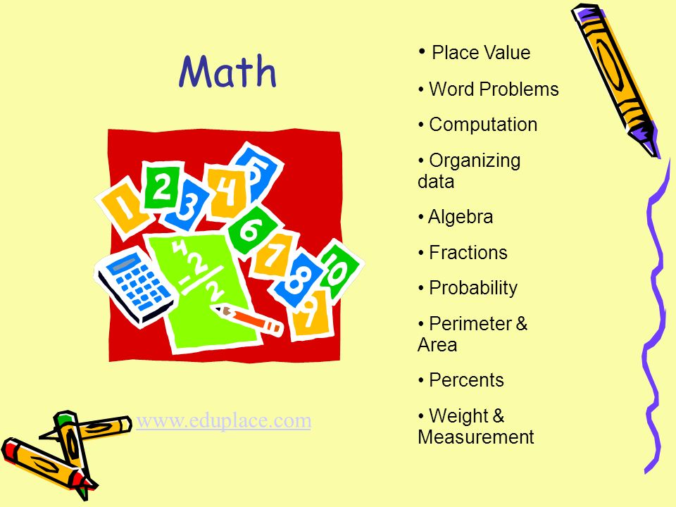 Math Place Value Word Problems Computation Organizing data Algebra Fractions Probability Perimeter & Area Percents Weight & Measurement www.eduplace.com