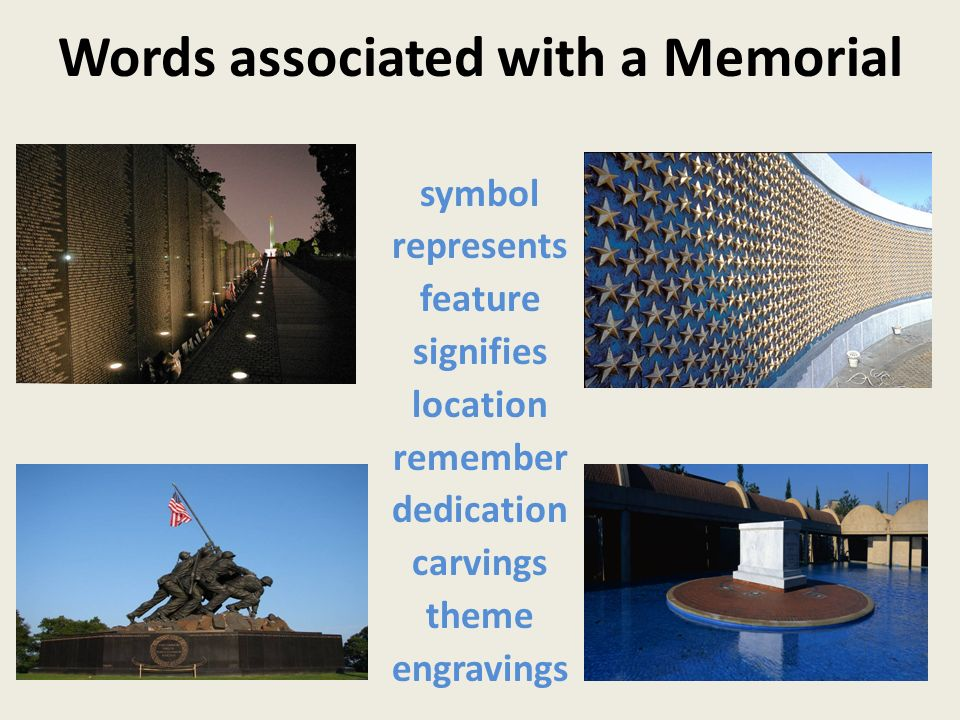Words associated with a Memorial symbol represents feature signifies location remember dedication carvings theme engravings