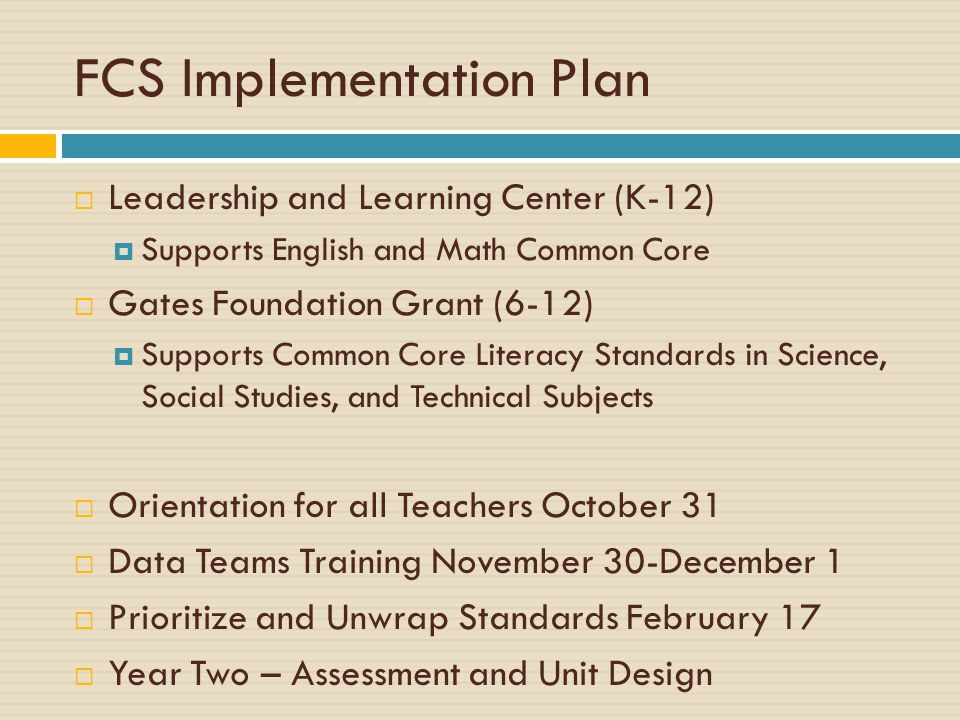 FCS Implementation Plan Leadership and Learning Center (K-12) Supports English and Math Common Core Gates Foundation Grant (6-12) Supports Common Core