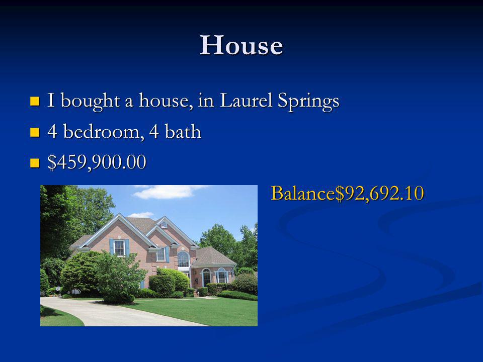 House I bought a house, in Laurel Springs I bought a house, in Laurel Springs 4 bedroom, 4 bath 4 bedroom, 4 bath $459, $459,900.00Balance$92,692.10