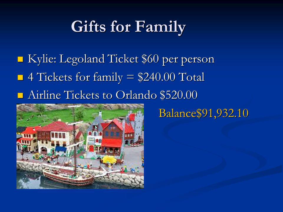 Gifts for Family Kylie: Legoland Ticket $60 per person Kylie: Legoland Ticket $60 per person 4 Tickets for family = $ Total 4 Tickets for family = $ Total Airline Tickets to Orlando $ Airline Tickets to Orlando $520.00Balance$91,932.10