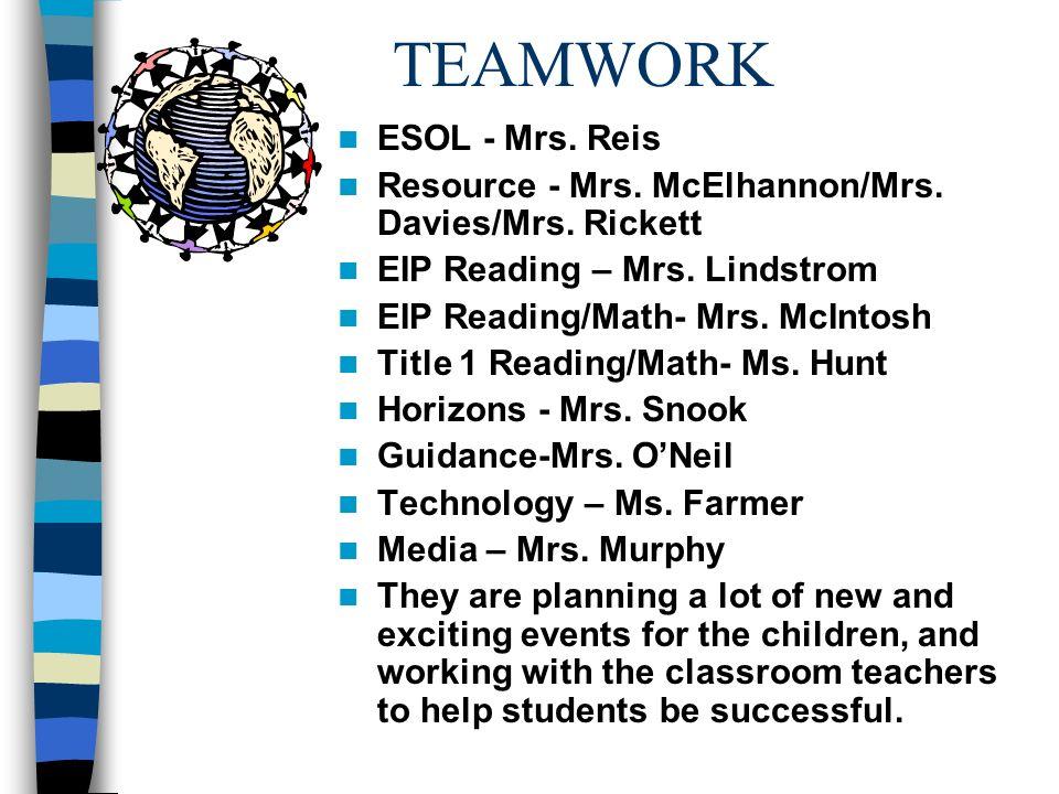 TEAMWORK ESOL - Mrs. Reis Resource - Mrs. McElhannon/Mrs. Davies/Mrs. Rickett EIP Reading – Mrs. Lindstrom EIP Reading/Math- Mrs. McIntosh Title 1 Rea