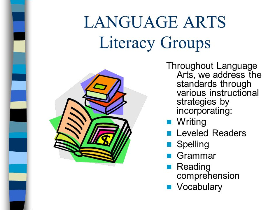 LANGUAGE ARTS Literacy Groups Throughout Language Arts, we address the standards through various instructional strategies by incorporating: Writing Le