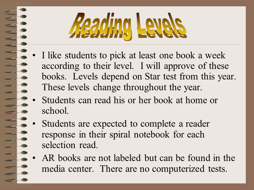 I like students to pick at least one book a week according to their level.