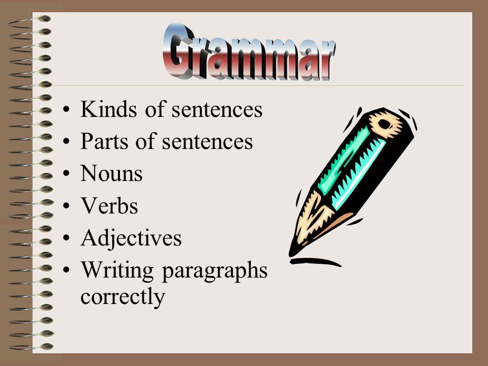 Kinds of sentences Parts of sentences Nouns Verbs Adjectives Writing paragraphs correctly