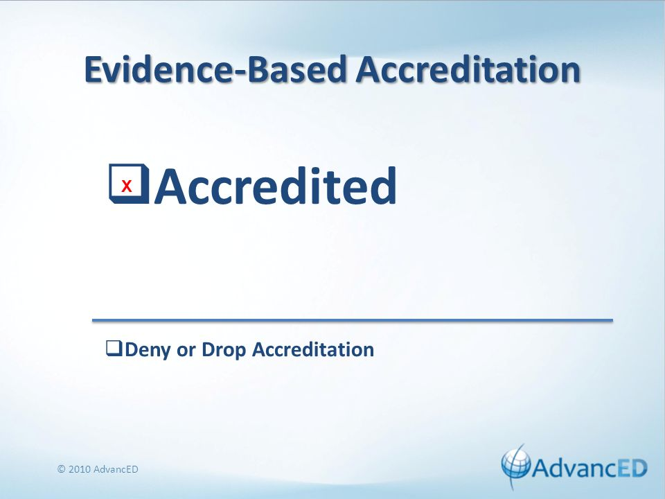 Evidence-Based Accreditation Accredited © 2010 AdvancED Deny or Drop Accreditation X