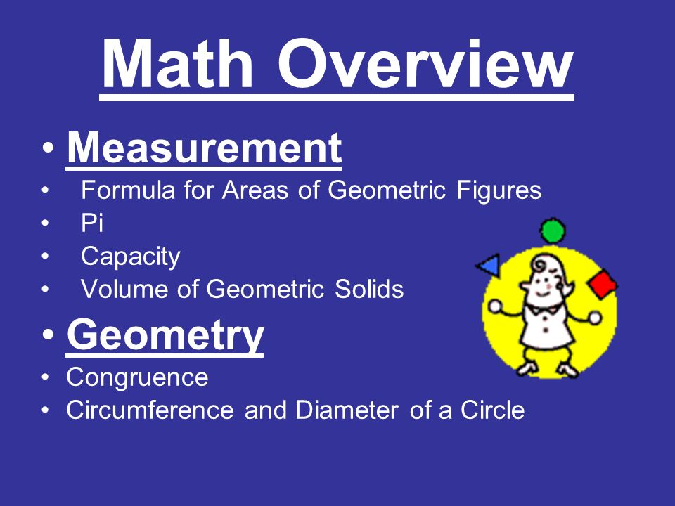 Math Overview Measurement Formula for Areas of Geometric Figures Pi Capacity Volume of Geometric Solids Geometry Congruence Circumference and Diameter of a Circle