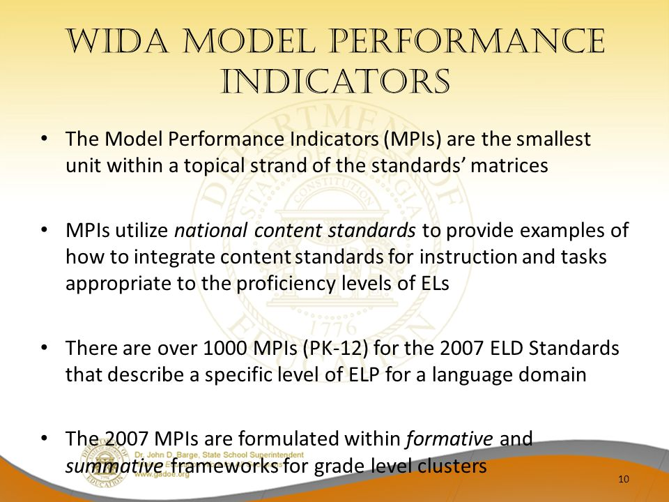 WIDA Model Performance indicators The Model Performance Indicators (MPIs) are the smallest unit within a topical strand of the standards matrices MPIs