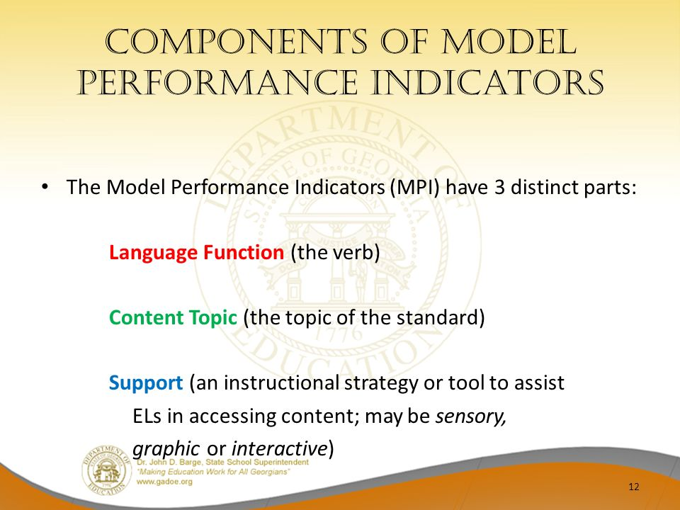 Components of Model performance indicators The Model Performance Indicators (MPI) have 3 distinct parts: Language Function (the verb) Content Topic (t