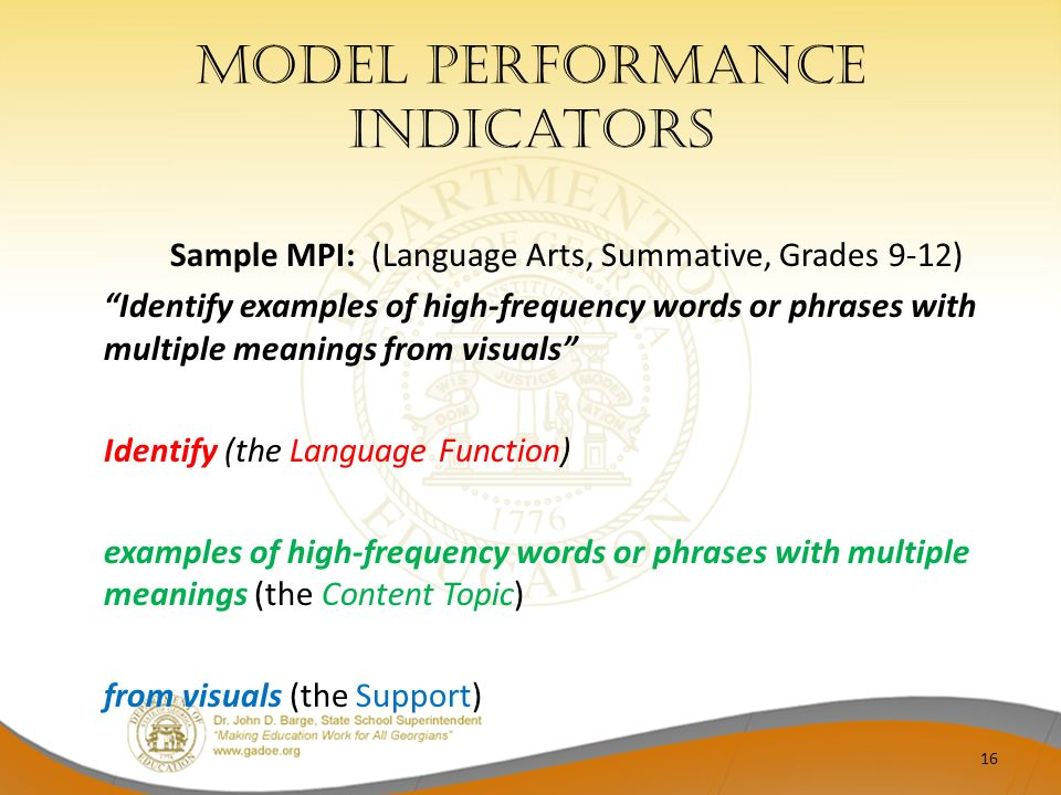 Model performance indicators Sample MPI: (Language Arts, Summative, Grades 9-12) Identify examples of high-frequency words or phrases with multiple me