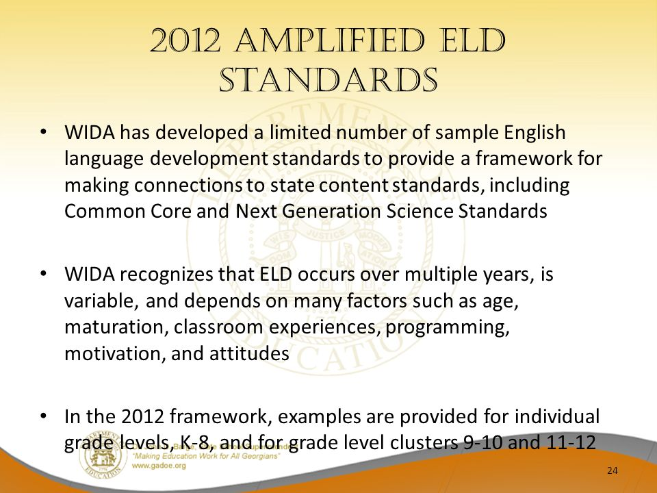 2012 Amplified ELD Standards WIDA has developed a limited number of sample English language development standards to provide a framework for making co