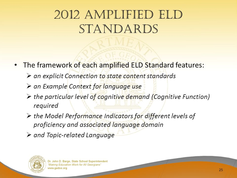 2012 Amplified ELD Standards The framework of each amplified ELD Standard features: an explicit Connection to state content standards an Example Conte