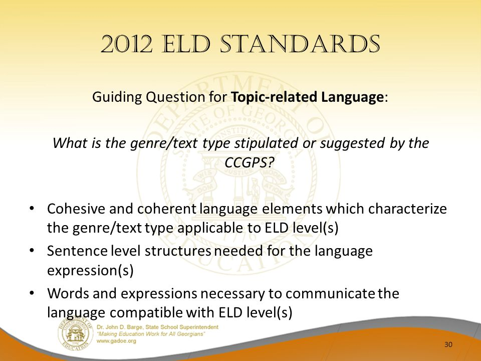 2012 ELD Standards Guiding Question for Topic-related Language: What is the genre/text type stipulated or suggested by the CCGPS? Cohesive and coheren