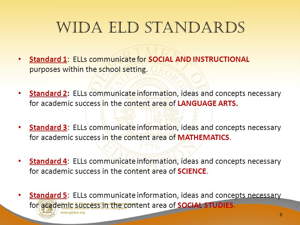 WIDA ELD Standards Standard 1: ELLs communicate for SOCIAL AND INSTRUCTIONAL purposes within the school setting. Standard 2: ELLs communicate informat