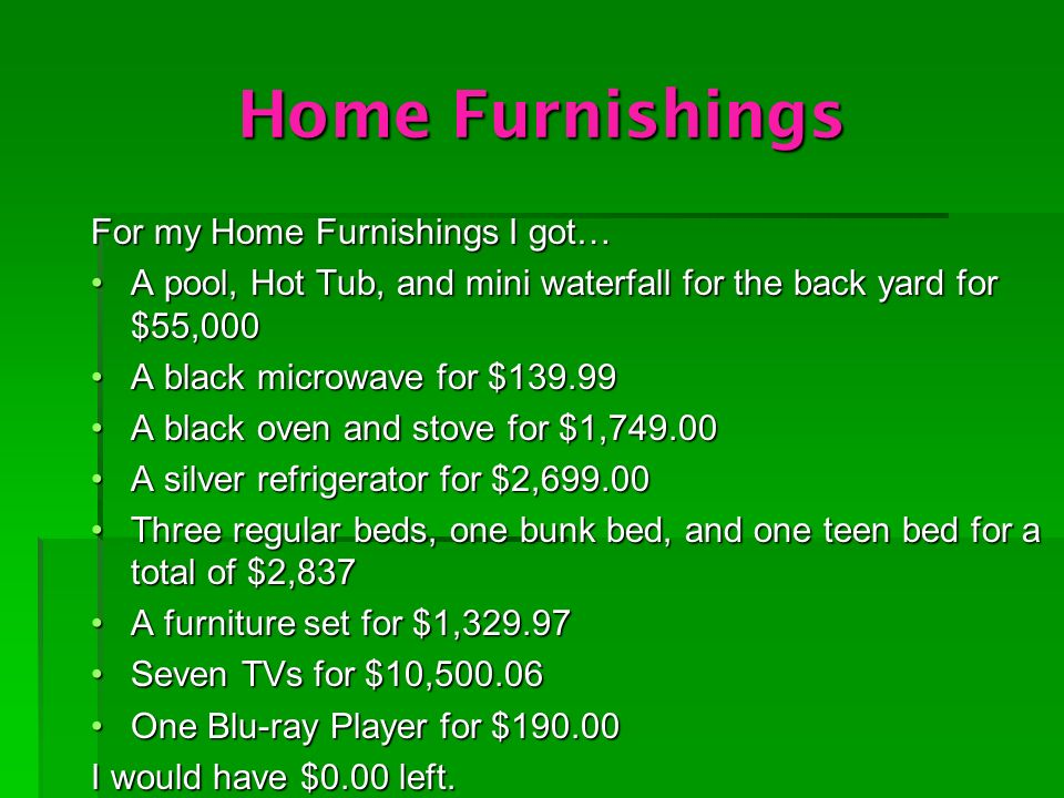 Home Furnishings For my Home Furnishings I got… A pool, Hot Tub, and mini waterfall for the back yard for $55,000A pool, Hot Tub, and mini waterfall for the back yard for $55,000 A black microwave for $139.99A black microwave for $139.99 A black oven and stove for $1,749.00A black oven and stove for $1,749.00 A silver refrigerator for $2,699.00A silver refrigerator for $2,699.00 Three regular beds, one bunk bed, and one teen bed for a total of $2,837Three regular beds, one bunk bed, and one teen bed for a total of $2,837 A furniture set for $1,329.97A furniture set for $1,329.97 Seven TVs for $10,500.06Seven TVs for $10,500.06 One Blu-ray Player for $190.00One Blu-ray Player for $190.00 I would have $0.00 left.