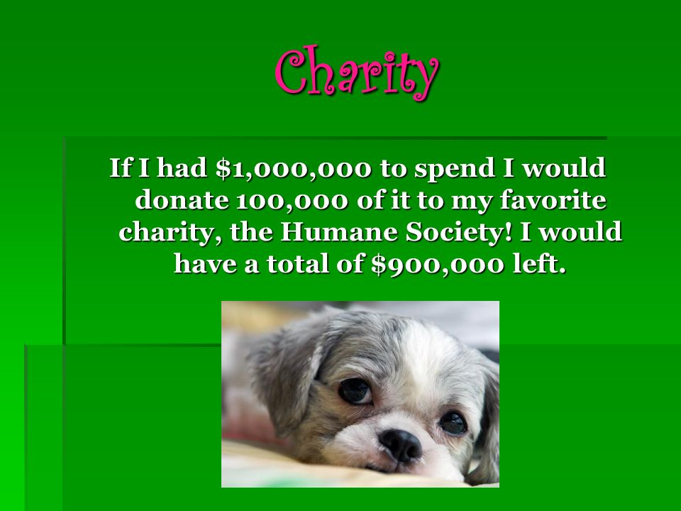 Charity If I had $1,000,000 to spend I would donate 100,000 of it to my favorite charity, the Humane Society.
