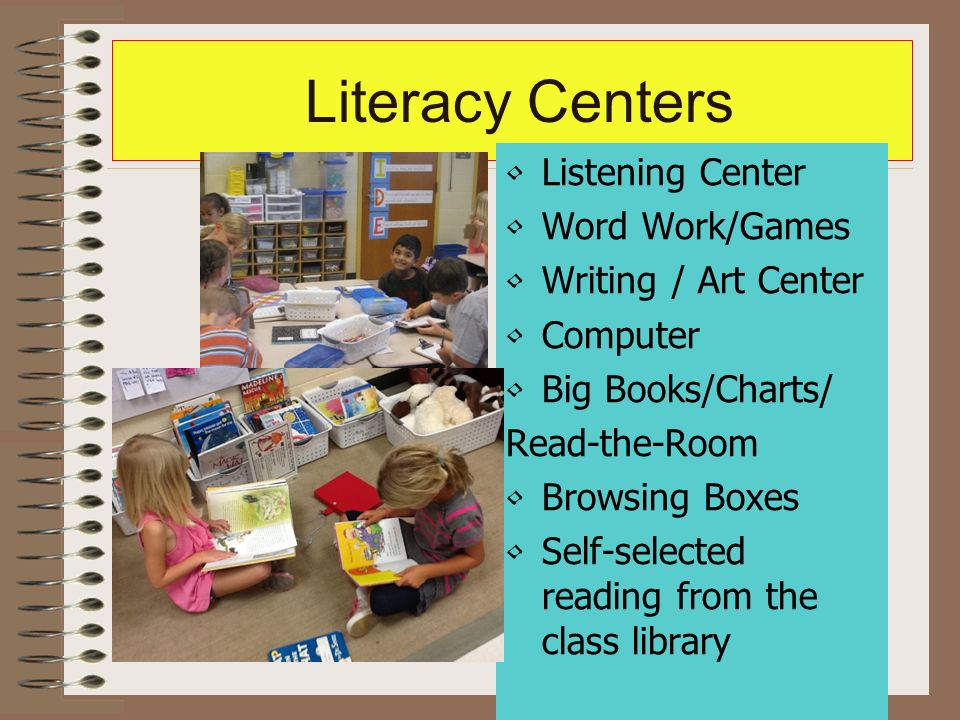 Literacy Centers Listening Center Word Work/Games Writing / Art Center Computer Big Books/Charts/ Read-the-Room Browsing Boxes Self-selected reading from the class library