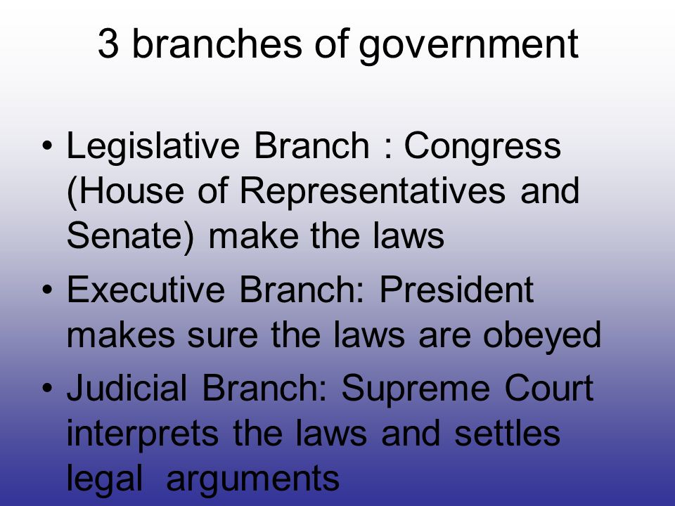 3 branches of government Legislative Branch : Congress (House of Representatives and Senate) make the laws Executive Branch: President makes sure the