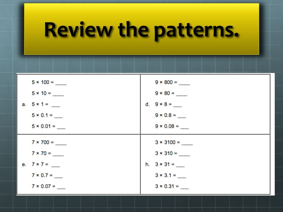 Review the patterns.