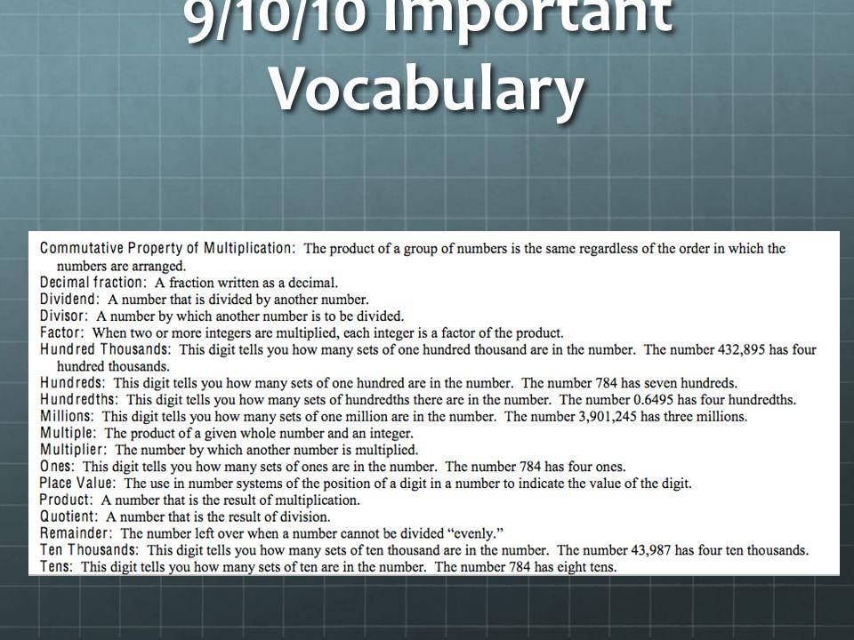 9/10/10 Important Vocabulary