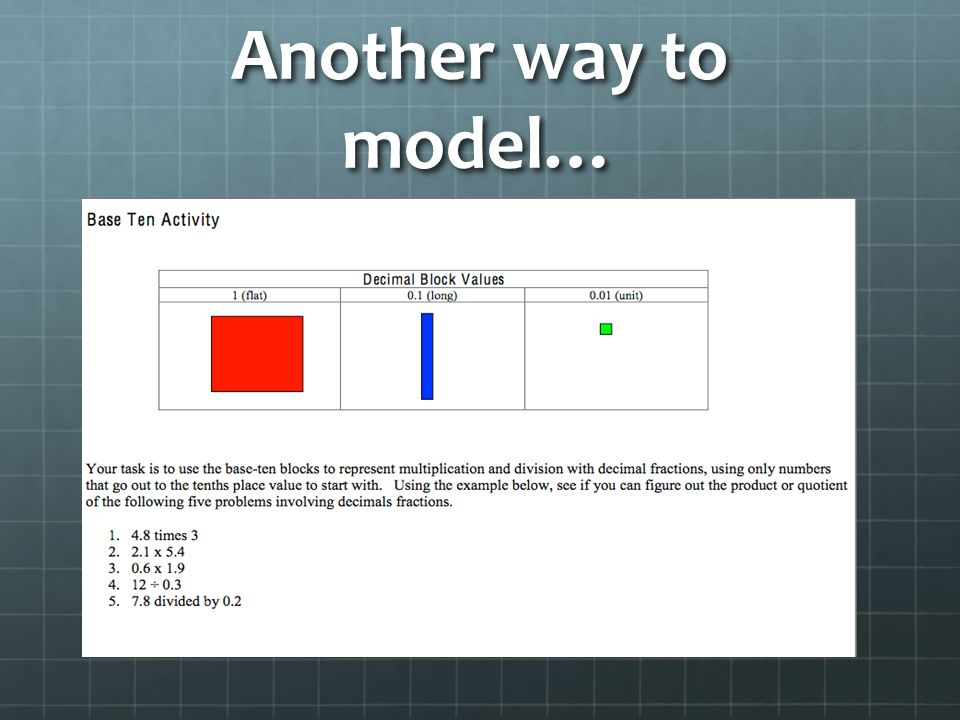Another way to model…