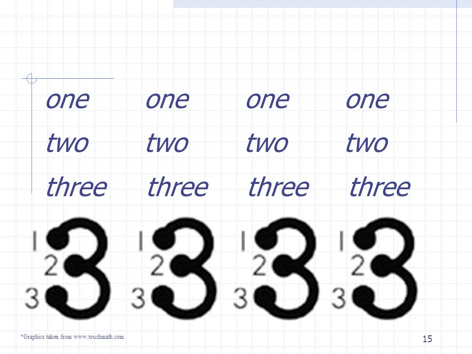 14 One one one one Two two two two *Graphics taken from www.touchmath.com