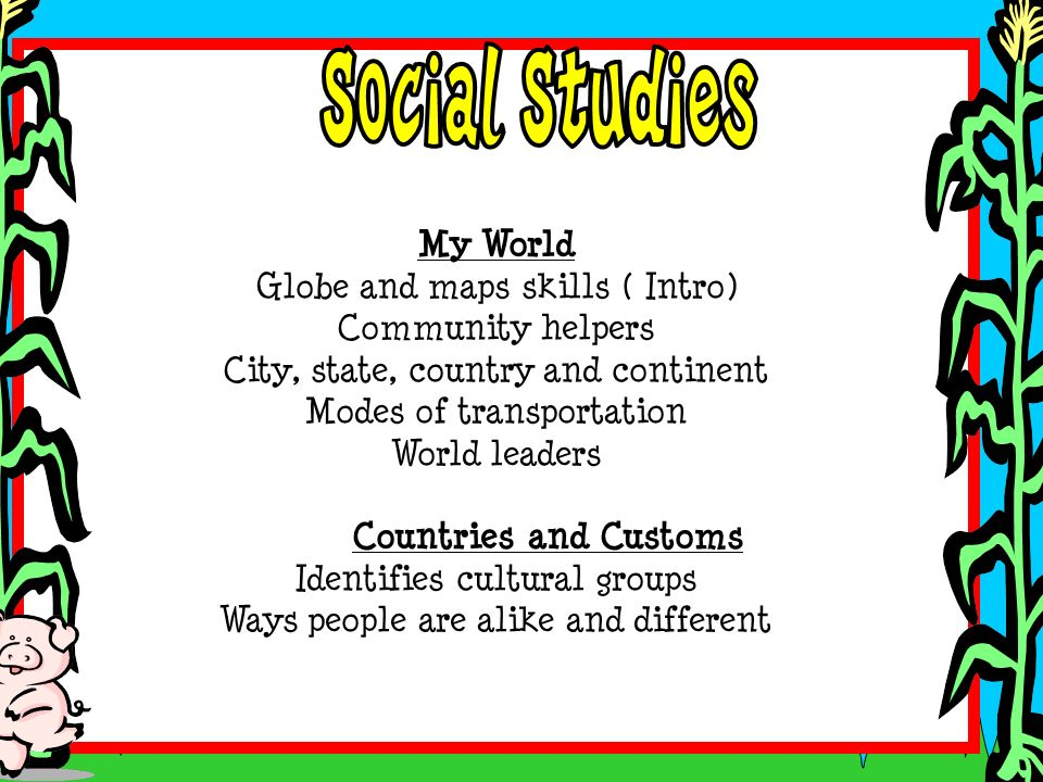 My World Globe and maps skills ( Intro) Community helpers City, state, country and continent Modes of transportation World leaders Countries and Custo