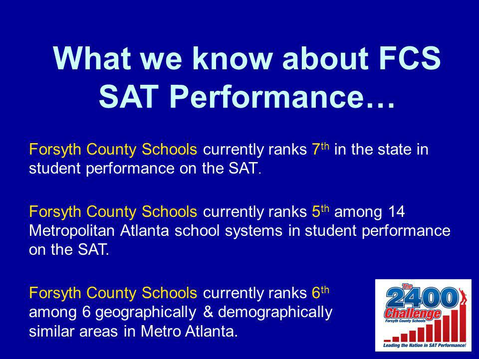 What we know about FCS SAT Performance… Forsyth County Schools currently ranks 7 th in the state in student performance on the SAT.
