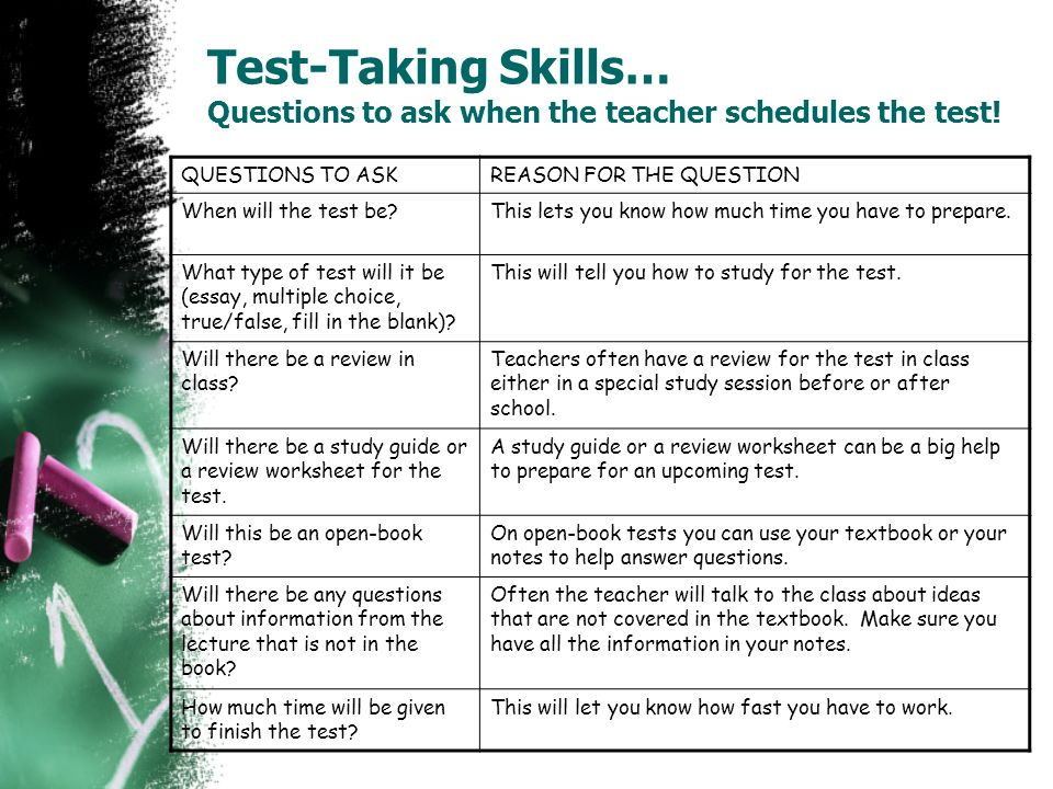 Test-Taking Skills… Questions to ask when the teacher schedules the test! QUESTIONS TO ASKREASON FOR THE QUESTION When will the test be?This lets you