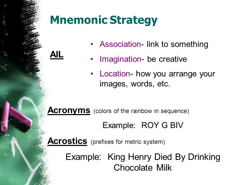 Mnemonic Strategy Association- link to something Imagination- be creative Location- how you arrange your images, words, etc. Acronyms (colors of the r