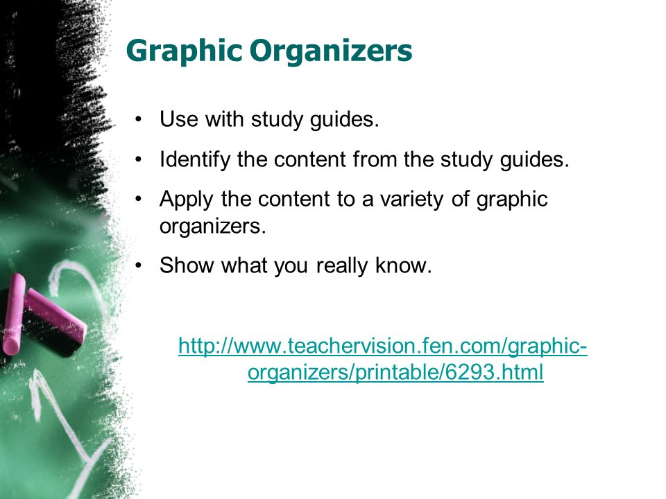 Graphic Organizers Use with study guides. Identify the content from the study guides. Apply the content to a variety of graphic organizers. Show what