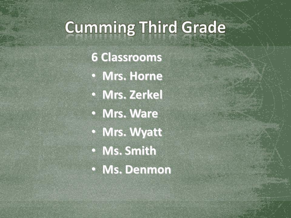6 Classrooms 6 Classrooms Mrs. Horne Mrs. Horne Mrs. Zerkel Mrs. Zerkel Mrs. Ware Mrs. Ware Mrs. Wyatt Mrs. Wyatt Ms. Smith Ms. Smith Ms. Denmon Ms. D